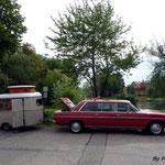 Mercedes 220D et caravane