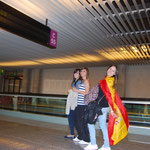 Irene, Clara et Gema à l'aérooport de Mallorca