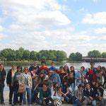Devant le lac Alster à Hambourg.