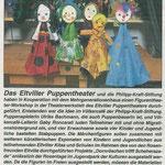 05.03.2020, Rheingau Echo: Kooperation Völkercafé mit dem Eltviller Rosenverein e.V. und dem Eltviller Puppentheater