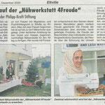 10.12.2020, Rheingau Echo: Nähwerkstatt 4Freude - Adventsverkauf