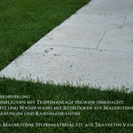 Neugestaltung Natursteinterrassen, Natursteinmauer und Wege aus Travertin, Bepflanzung, Rollrasen
