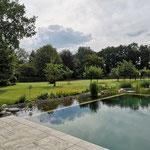 Naturschwimmteich glasklares Wasser Teichsubstrat