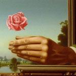 Hand mit Rose, 19,5 X 35 cm, 1983, Öl/Tempera, Mischtechnik