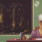 Selbstbildnis mit Rose, 65,5 X 105 cm, 1988, Öl/Tempera, Mischtechnik
