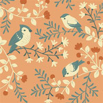 birch - birds and branches, coral - bio-baumwolle