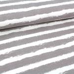 stoffonkel - mellow stripes, steingrau - bio-wintersweat