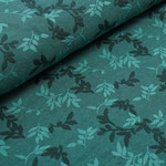 stoffonkel - shiny leaves, smaragd - bio-relief-jacquard