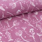 stoffonkel - grasblumen -vintage rose - bio-jersey