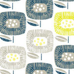 cloud9 - block blooms, navy - bio-baumwolle