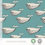elvelyckan - whale, aqua - bio-jersey