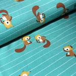 stoffonkel - squirrels, türkis - bio-jersey