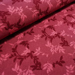 stoffonkel - shiny leaves, rubin - bio-relief-jacquard