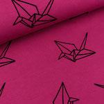 albstoffe - origami, fuchsia - bio-jersey