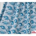 lillestoff - dinosaur, blau-meliert - bio-jersey