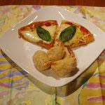 マルゲリータピザとまんまるタラモコロッケ