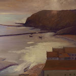 "Interpretation Trevor Chamberlain's ""Autumn Morning looking on Staithes"". Öl auf Leinwand 40x40cm. In Privat Besitz"