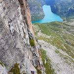Photo:  Stefan Joller / Climber: Dominik / Location: Vals - Zevreilahorn, Switzerland