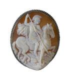 Spilla montata in argento 925%° rappresentante San Giorgio