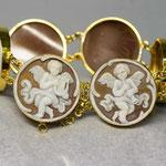 Bracciale in oro argento con cammei