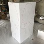 発泡スチロール原型 材料墨だし