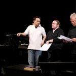 Bariton Moritz Gogg, Gustav-Peter Wöhler, Folkert Bockentien bei den Proben