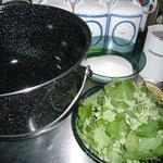 zutaten: melissenblätter, zucker, wasser, zitrone, apfelessig
