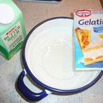 2 blatt gelatine und etwas buttermilch