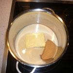 milch, butter und brauner zucker