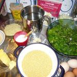 zutaten: hirse, wildkräuter, zwiebel, knoblauch, gemüsesuppenwürze,brösel, parmesan, eier, sesamsamen
