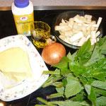 zutaten: butter, olivenöl, eine zwiebel, die unteren teile des spargels (falls sie nicht zu fest sind), wiesenbärenklaublätter, sahne, kochendheißes wasser, gemüsesuppenwürfel und salz