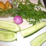 gurke (biogurke, wenn möglich aus dem eigenen garten) nicht schälen, halbieren und entkernen