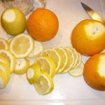 zitrone und orange dazu