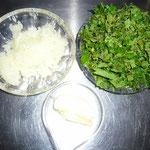 butter, zwiebel, brennnesseltriebe