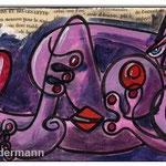 """Picasso- Style: Erotic Art 20:KLEINE ODALISKE ""/ 2013 / 15×30 cm (5.91″ x11.81″) /  Acrylfarben/Collage auf Leinwand"