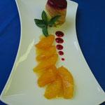 Orangenmousse im Baumkuchenmantel