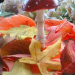 Gumpaste Fly Agaric and Autum Leaves by Floralilie