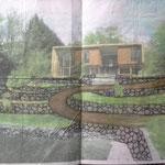 Croquis de l'aménagement avec superposition du dessin d'architecte de la future maison
