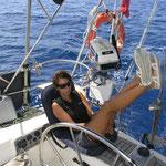 Navegando hacia Statia; nada de viento, así que sesión de motor