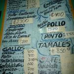 Menú con los platos típicos de Costa Rica