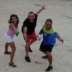 Con el Colo y Juan cuando desembarcamos en la playita
