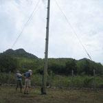 La antena de la estación que George ha construido