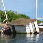 Barco hundido en los manglares de Tyrrel Bay