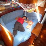 La gran cama del salón, una pasada en navegación
