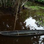 Canoa warao,  de un solo tronco