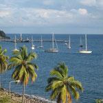 Los barcos fondeados, vista desde el restaurante