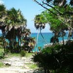 Vistas del mar desde las ruinas de Tulum