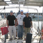 La tripu a punto de salir de Roquetas. Carlos, Luis y el capi