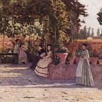 Silvestro Lega, Il pergolato (o Un dopo pranzo), 1868. Olio su tela, 75×93,5 cm, pinacoteca di Brera, Milano
