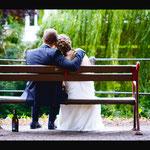 Hochzeitsfoto von Brautpaar auf der Promenade Münster